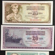 Billetes extranjeros: YUGOSLAVIA LOT DE 3 BILLETES 10 Y 20 DINARAS PK87-88 1978 Y 10 DINARAS PK138 1994 UNC. Lote 156043478