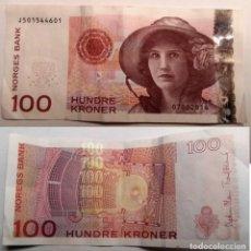 Billetes extranjeros: NORUEGA, BILLETE DE DE 100 CORONAS 2014. Lote 156097778