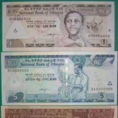 Billetes extranjeros: ETIOPÍA. LOTE/SET BILLETES: 1, 5 Y 10 BIRR. 2000 A 2013. PICK 46,47,48. SC/UNC. Lote 156143278