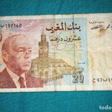 Billetes extranjeros: BILLETES - MOROCCO-MARRUECOS - 20 DIRHAMS 1996 CIRCULADO. Lote 218849312