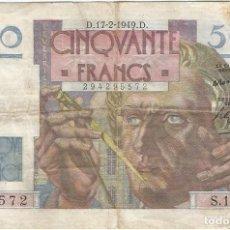 Billetes extranjeros: FRANCIA - FRANCE 50 FRANCS 17-2-1949 PK 127 B.4 FIRMAS P. ROUSSEAU Y P. GARGAM. Lote 156902130