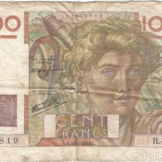 Billetes extranjeros: FRANCIA - FRANCE 100 FRANCS 18-4-1946 PK 128 A.2 FIRMAS P. ROUSSEAU Y R. FAVRE-GILLY. Lote 156902382