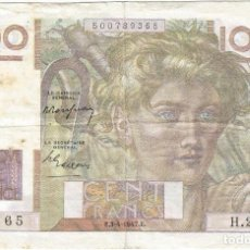 Billetes extranjeros: FRANCIA - FRANCE 100 FRANCS 3-4-1947 PK 128 B.1 FIRMAS P. ROUSSEAU Y P. GARGAM. Lote 156902534