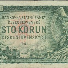 Billetes extranjeros: BILLETES - CHECOSLOVAQUIA - 100 KORUN 1961 - SERIE X77 - PICK-91 (MBC). Lote 156952846