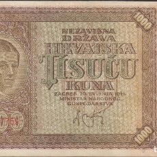 Billetes extranjeros: BILLETES - CROACIA - 1000 KUNA - 1941 - SERIE U - PICK-4 (MBC). Lote 156955078