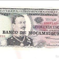 Billetes extranjeros: BILLETE DE 50 ESCUDOS DE MOZAMBIQUE DE 1970. SIN CIRCULAR. CATÁLOGO WORLD PAPER MONEY-111 (BE526). Lote 157250186