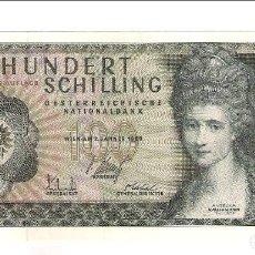 Billetes extranjeros: BILLETE DE 100 SCHILLING (CHELINES) DE AUSTRIA DE 1969. EBC+ CATÁLOGO WORLD PAPER MONEY-146A (BE6). Lote 158707938