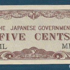 Billetes extranjeros: 5 CÉNTIMOS DE MALAYA OCUPADA POR JAPÓN 1942 UNC. Lote 158796610