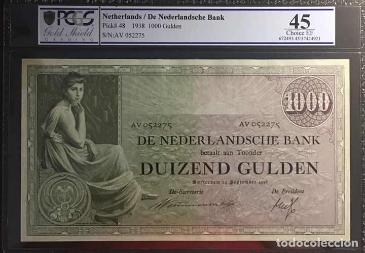 Billetes extranjeros: PCGS 45 Netherlands 1000 Gulden 1938 Pick 48 Very Rare EF. - Foto 1 - 159661308