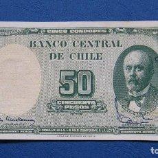 Billetes extranjeros: CHILE BILLETE DE 50 PESOS 1960-61 . Lote 159906286