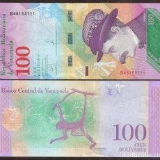 Billetes extranjeros: VENEZUELA. BONITO 100 BOLIVARES 15.01.2018. S/C. FAUNA. MONO.. Lote 195516675