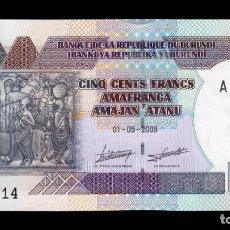 Billetes extranjeros: BURUNDI 500 FRANCS 2009 PICK 45A SC UNC. Lote 172641835