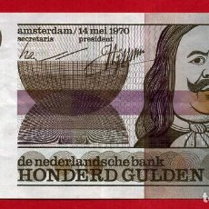 Billetes extranjeros: BILLETE HOLANDA , 100 GULDEN FLORINES 1970 , MBC+ , ORIGINAL , T052. Lote 160987954
