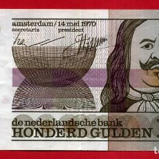 Billetes extranjeros: BILLETE HOLANDA , 100 GULDEN FLORINES 1970 , MBC+ , ORIGINAL , T376. Lote 160988042