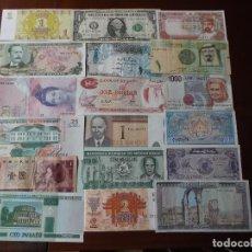 Billetes extranjeros: CONJUNTO DE 18 BILLETES MUNDIALES LA MAYORIA SIN CIRCULAR . Lote 161231454