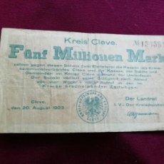 Billetes extranjeros: ALEMANIA, CLEVE. 5 MILLONES DE MARCOS DE 1923. Lote 161548190