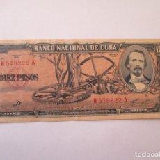 Billetes extranjeros: CUBA * 10 PESOS 1960 * FIRMA DEL CHE . Lote 161870074