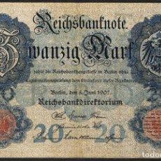 Billetes extranjeros: [CF2306A] ALEMANIA 1907, 20 MARCOS (VF). Lote 161930450