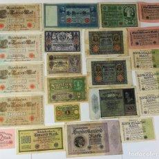 Billetes extranjeros: COLECCIÓN DE 22 BILLETES ANTIGUOS ALEMANES. ALEMANIA CIRCA 1910 . Lote 162180182