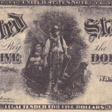 Billetes extranjeros: BILLETE 5 DOLARES USA 1907 EL LEÑADOR. Lote 162267426