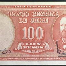 Billetes extranjeros: CHILE BILLETE DE 100 PESOS, AÑO 1960 PK127 UNC. Lote 162428510