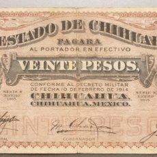 Billetes extranjeros: MÉJICO. MÉXICO. 20 PESOS. CHIHUAHUA. Lote 162448570