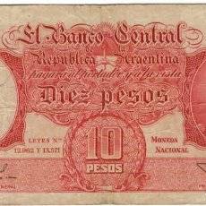 Billetes extranjeros: ARGENTINA - 10 PESOS. Lote 162634518