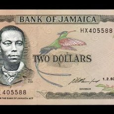 Billetes extranjeros: JAMAICA 2 DOLLARS 1993 PICK 69E SC UNC. Lote 210628541