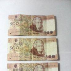 Billetes extranjeros: BILLETES 500 ESCUDOS BANCO PORTUGAL LOTE. Lote 163088386