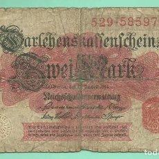 Billetes extranjeros: ALEMANIA BILLETE DE 2 MARK 1914. Lote 163132434