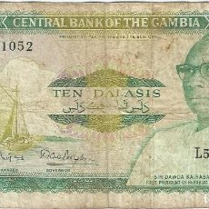 Billetes extranjeros: GAMBIA 10 DALASI 1987 PK 10 A CON MICROESCRITURA CENTRAL BANK OF THE GAMBIA EN ANVERSO, FIRMA 8. Lote 163366718
