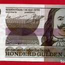 Billetes extranjeros: BILLETE HOLANDA , 100 GULDEN FLORINES 1970 , MBC++ , ORIGINAL , T253. Lote 164029342