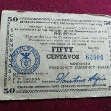 Billetes extranjeros: FILIPINAS. 50 CENTAVOS DE 1944. Lote 164811618