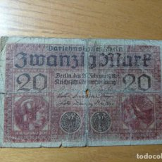 Billetes extranjeros: 20 MARCOS ALEMANIA 1918. Lote 165115702