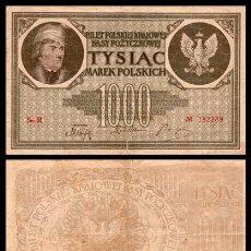 Billetes extranjeros: POLONIA 1000 MAREK 1919 PIK 22 MBC . Lote 165603142