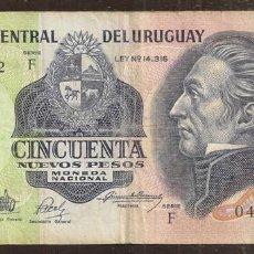Billetes extranjeros: URUGUAY. 50 NUEVOS PESOS (1988). SERIE F. PICK 61A. VER FIRMAS.. Lote 165631181