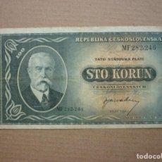 Billetes extranjeros: CHECOSLOVAQUIA - 100 KORUN / CORONAS (1945) CIRCULADO. Lote 165668610