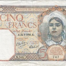 Billetes extranjeros: ARGELIA - ALGERIA 5 FRANCS 22-9-1941 PK 77 B.15 SIN SERIE SUPERIOR CENTRAL, FIRMAS DE ROUX. Lote 165678002