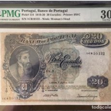 Billetes extranjeros: PMG 30 / PORTUGAL BANCO PORTUGAL 20 ESCUDOS 1920 PICK 118 VERY FINE SCARCE RARE. Lote 165688265