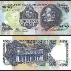 Billetes extranjeros: URUGUAY 50 NUEVOS PESOS 1989 PIK 61A S/C. Lote 165783238