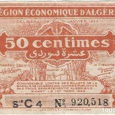 Billetes extranjeros: ARGELIA - ALGERIA 50 CÉNTIMES 1944 PK 97 A. Lote 165828238
