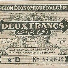 Billetes extranjeros: ARGELIA - ALGERIA 2 FRANCS 1944 PK 99 B. Lote 165828414