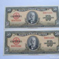 Billetes extranjeros: CUBA * 50 PESOS 1958 * PLANCHA - PAREJA CORRELATIVA. Lote 165852650