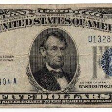 Billetes extranjeros: BILLETE 5 DOLARES USA SELLO AZUL AÑO 1934 SERIE 1934D. Lote 166023482