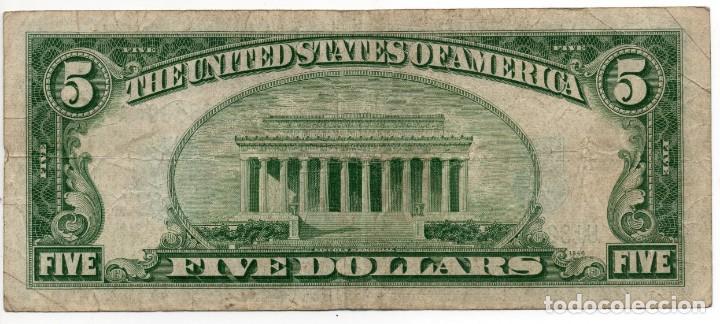 Billetes extranjeros: Billete 5 Dolares USA Sello Azul Año 1934 serie 1934D - Foto 2 - 166023482
