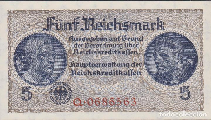 BILLETES - GERMANY-ALEMANIA - 5 REICHSMARK - 1940-45. - SERIE Q 0686582 - R-138A (SC) (Numismática - Notafilia - Billetes Extranjeros)
