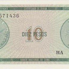 Billetes extranjeros - billetes - cuba - 10 pesos (CERTIFICADO DE DIVISA) nd - serie ha 561197 - pick-no (SC) - 166216806