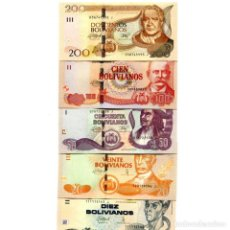 Billetes extranjeros: BOLIVIA 10 20 50 100 200 BOLIVIANOS L1986 (2015) P-NEW UNC SERIE J FULL SET OF 5 BILLETES. Lote 166374774