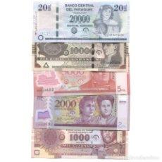 Billetes extranjeros: PARAGUAY 1000 - 20000 GUARANIES 2005-2013 UNC SET OF 5 BILLETES. Lote 166375966