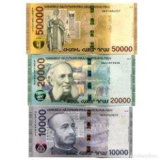 Billetes extranjeros: ARMENIA 10000 20000 50000 DRAM 2018 P-NEW UNC POLYMER SET OF 3 BILLETES. Lote 166445382